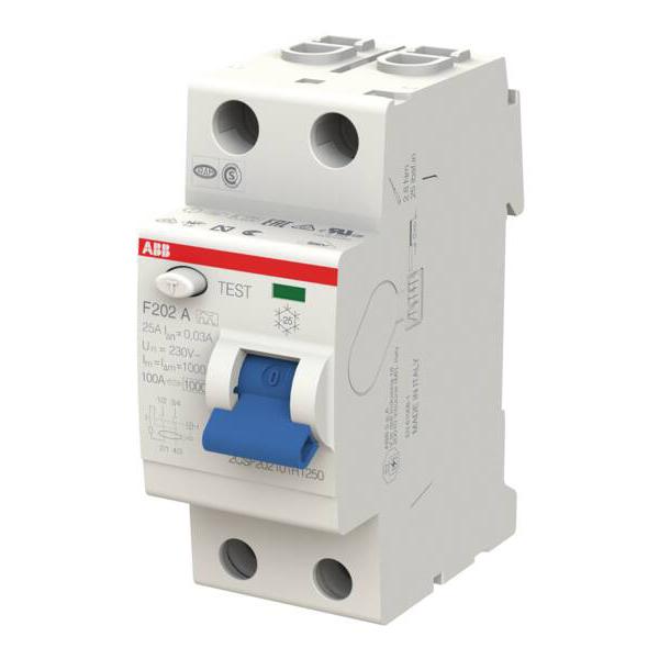 ABB FI-Schalter RCD Fehlerstrom Schutzschalter F202A-25//0,03 FI 25A 30mA 2 polig