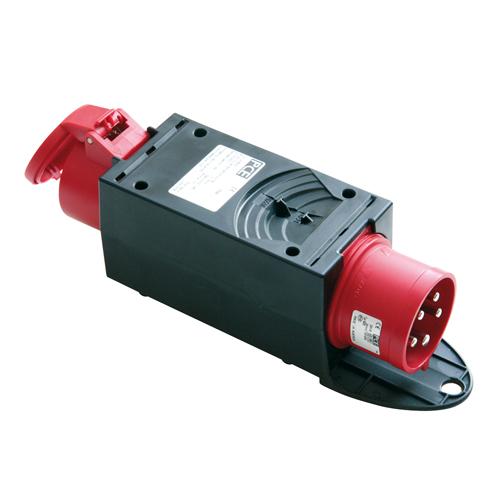 CEE-Adapter CEE-Stecker 16A 400V auf CEE-Kupplung 32A mit Phasenw.