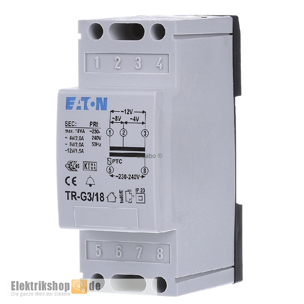 Universal Klingeltransformator 4-8-12V / 2-2-1,5A TR-G3/18 Eaton