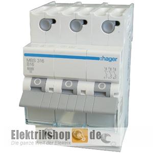 hager mcs316 3 c16 16a 3 polig quickconnect sicherungsautomat. Black Bedroom Furniture Sets. Home Design Ideas