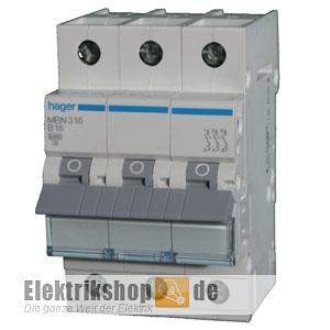 3B16 Leitungsschutzschalter B 16A 3polig 6kA MBN316 Hager