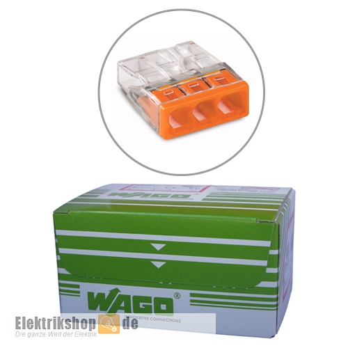 100 Stk. COMPACT-Dosenklemmen 3-Leiter-Klemmen 2273-203 WAGO