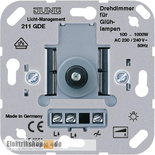jung 211gde drehdimmer mit druck wechselschalter 100 1000w. Black Bedroom Furniture Sets. Home Design Ideas