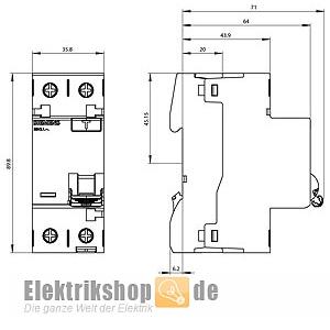 fi schutzschalter 16a 10ma 2 polig 5sv3111 6 siemens. Black Bedroom Furniture Sets. Home Design Ideas