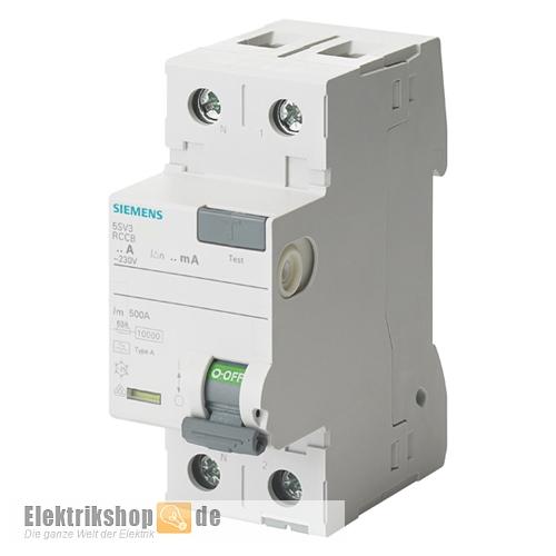 SIEMENS 5SV3312-6 FI-Schutzschalter 25A 30mA 2P - Elektrikshop.de