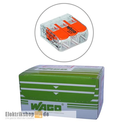 50 Stk. COMPACT-3-Leiter-Klemmen mit Bet.-Hebel 221-413 WAGO