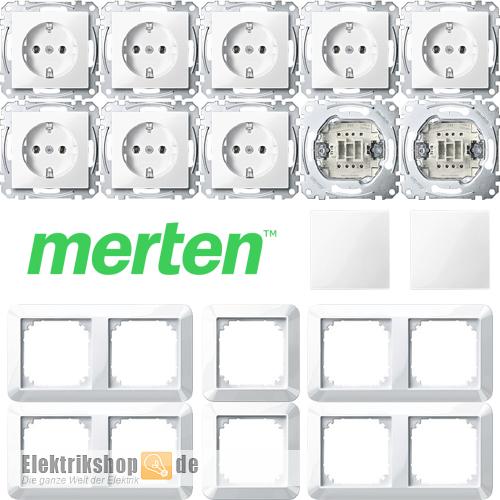 Merten System M Rahmen M-Smart Steckdosen Wippen Abdeckg Schalter polarweiß gl