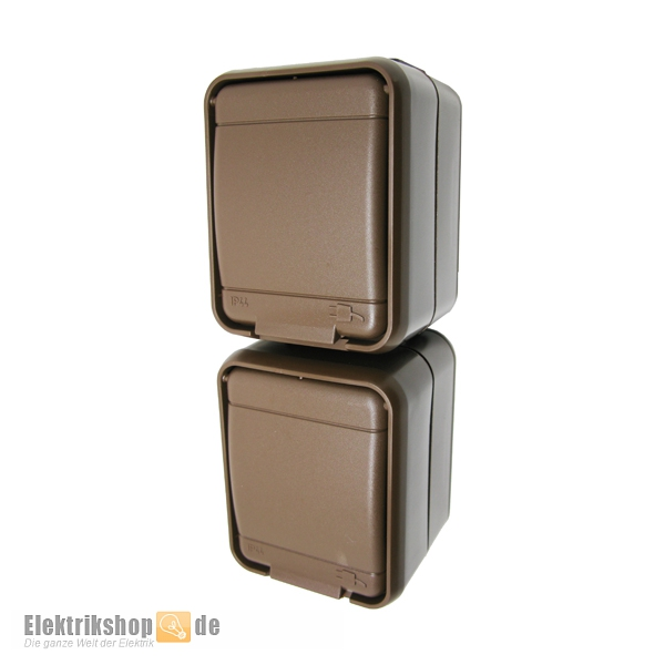 elso elg445412 ap steckdose 2 fach senkrecht ip44 aqua top braun. Black Bedroom Furniture Sets. Home Design Ideas