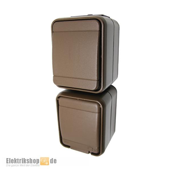 Wechselschalter mit Klappdeckel Aufputz IP44 braun Steckdosen