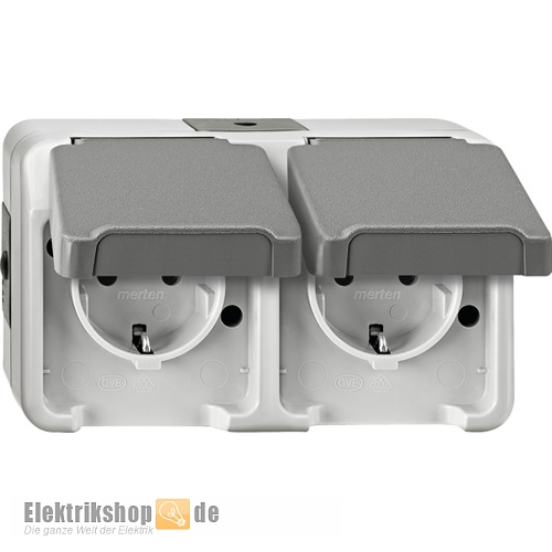 Feuchtraum Steckdosen Doppelsteckdose Kombi 2-fach Steckdosenleiste