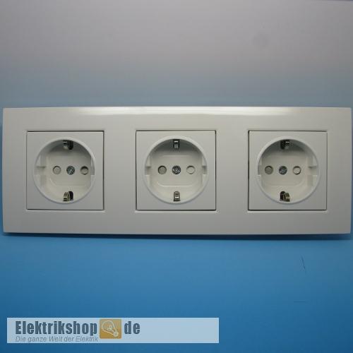 Viko 3 Fach Steckdosen Set Mit Rahmen Reinweiss Karre