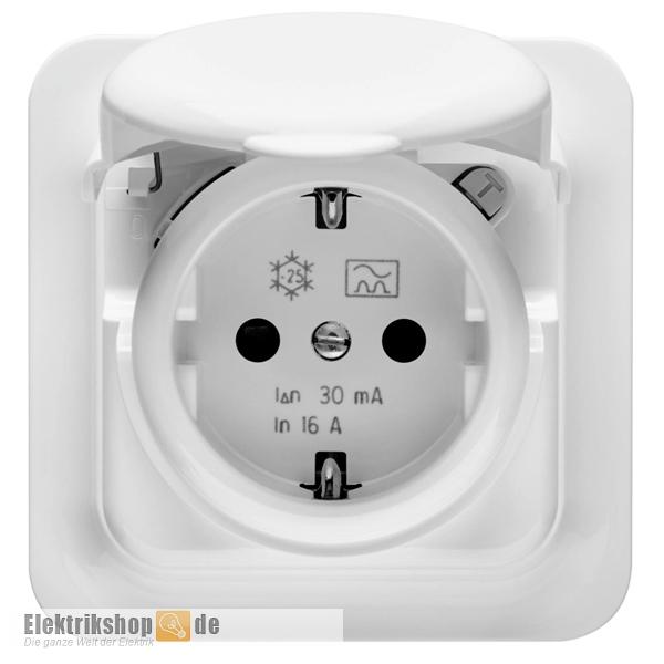 FI-Sicherheits Steckdose mit Klappdeckel 16A 30mA IP44 GW95924 GEWISS
