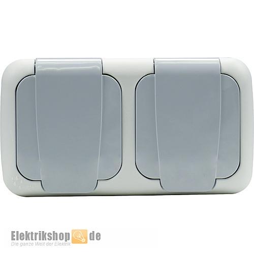 Steckdose 2-fach grau waagerecht Aufputz Feuchtraum EGB VIKO
