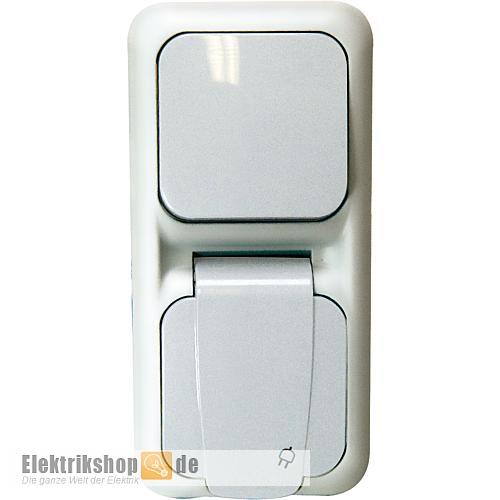 Schalter-Steckdose Kombination grau Aufputz Feuchtraum EGB VIKO