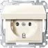 Steckdose mit Klappdeckel weiß/cremeweiß gl MEG2311-0344 Merten